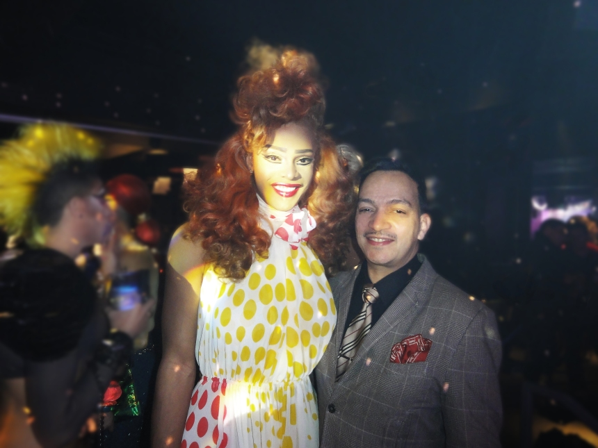 Anthony Rubio and Tyra Sanchez (winner of Season Two) at the premiere party for RuPaul's Drag Race Season 5