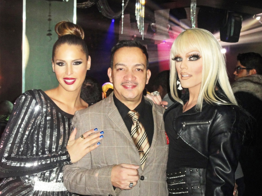 Anthony Rubio with Carmen Carrera and Morgan McMichaels  at the premiere party for RuPaul's Drag Race Season 5 at XL