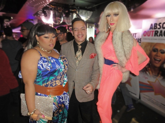 Anthony Rubio with Jiggly Caliente and Detox at the premiere party for RuPaul's Drag Race Season 5
