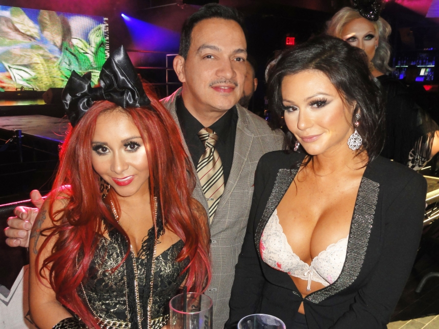 Anthony Rubio with Snooki and JWoww at the premiere party for RuPaul's Drag Race Season 5 at XL Nightclub