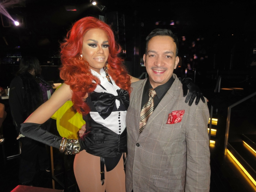 Monica Beverly Hillz and Anthony Rubio at the premiere party for RuPaul's Drag Race Season 5 at XL Nightclub