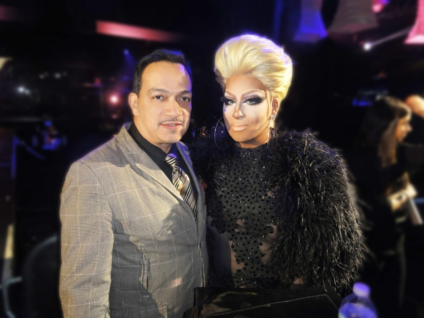 Roxxxy Andrews and Anthony Rubio at the premiere party for RuPaul's Drag Race Season 5 at XL Nightclub