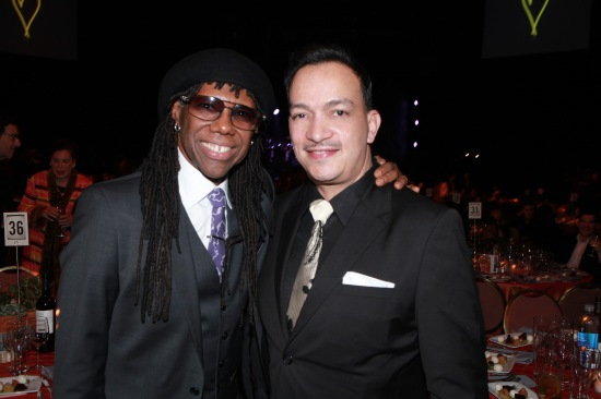 Anthony Rubio with Nile Rodgers at the We Are Family Foundation Gala