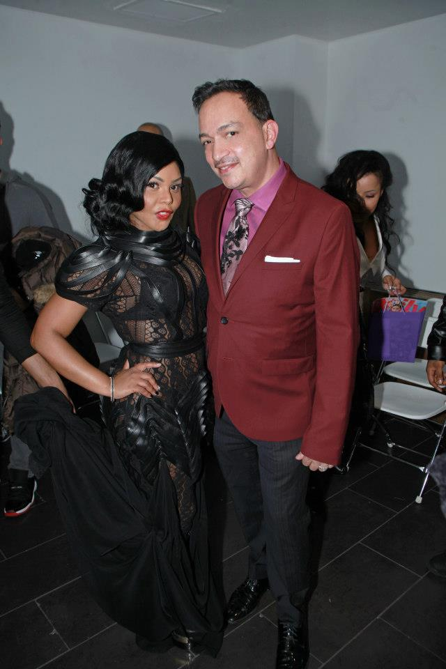 Anthony Rubio with Lil' Kim at The Reality Of Fashion benefit for Broadway Cares