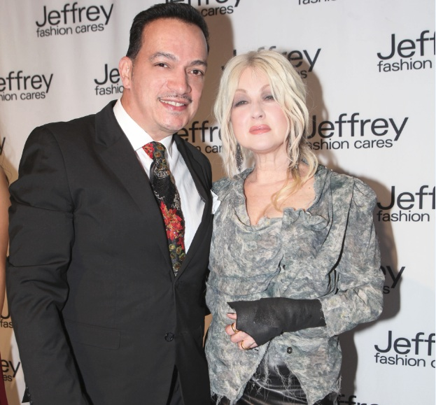 Anthony Rubio and Cyndi Lauper at Jeffrey Fashion Cares 10th Anniversary Celebration