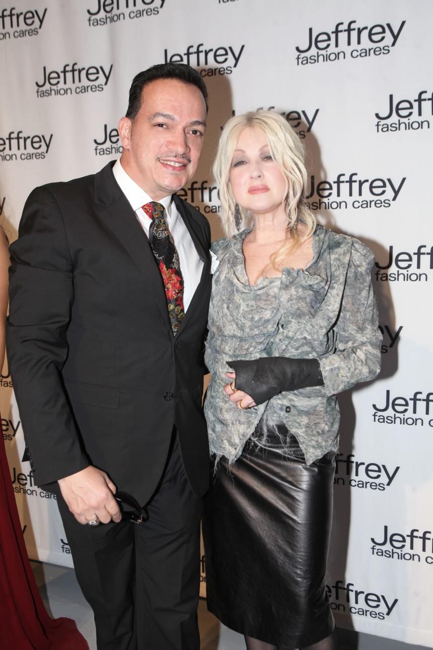 Anthony Rubio and Cyndi Laupert at Jeffrey Fashion Cares 10th Anniversary Celebration