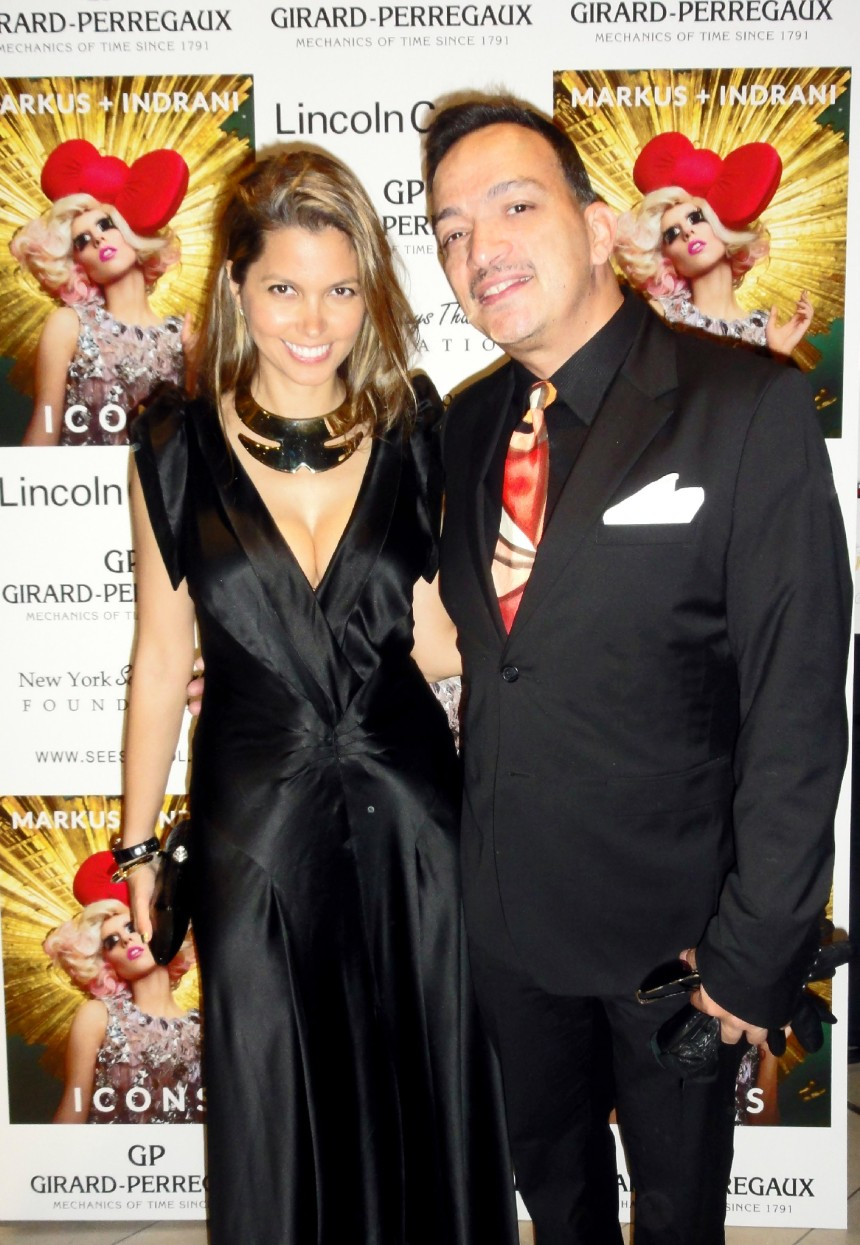 Anthony Rubio with with artist Indrani at Markus + Indrani's Icons Exhibit and Book Launch Party