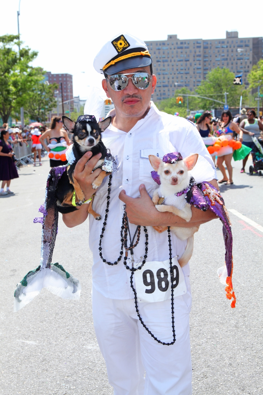 Anthony Rubio with Bogie & Kimba attend 2013 Coney Island Mermaid Parade