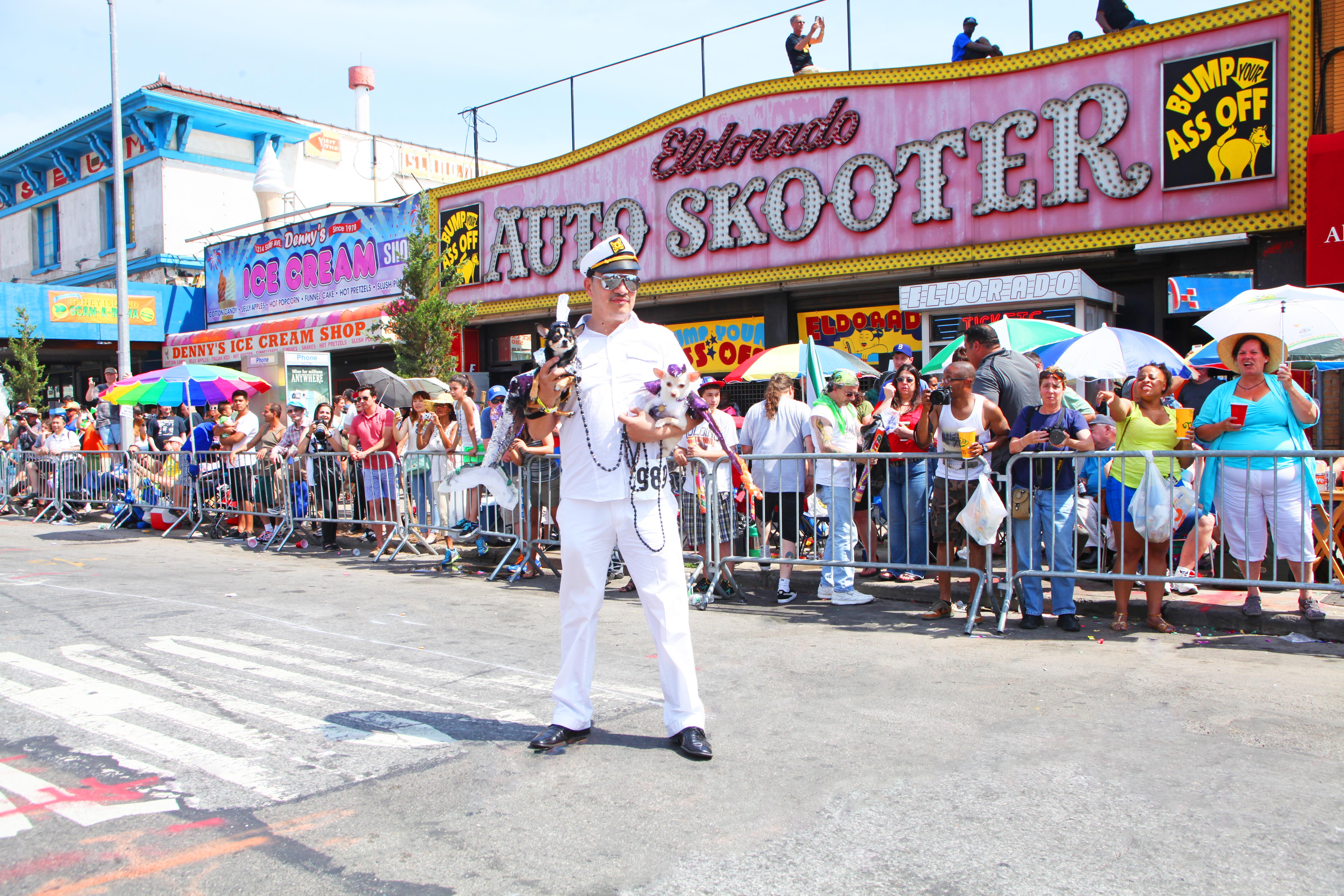 Anthony Rubio with Bogie & Kimba attend 2013 Coney Island Mermaid Parade