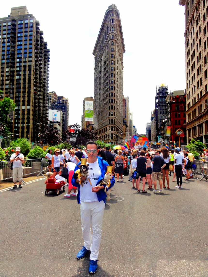 Anthony Rubio with Bogie and Kimba attend The March during NYC Pride 2013