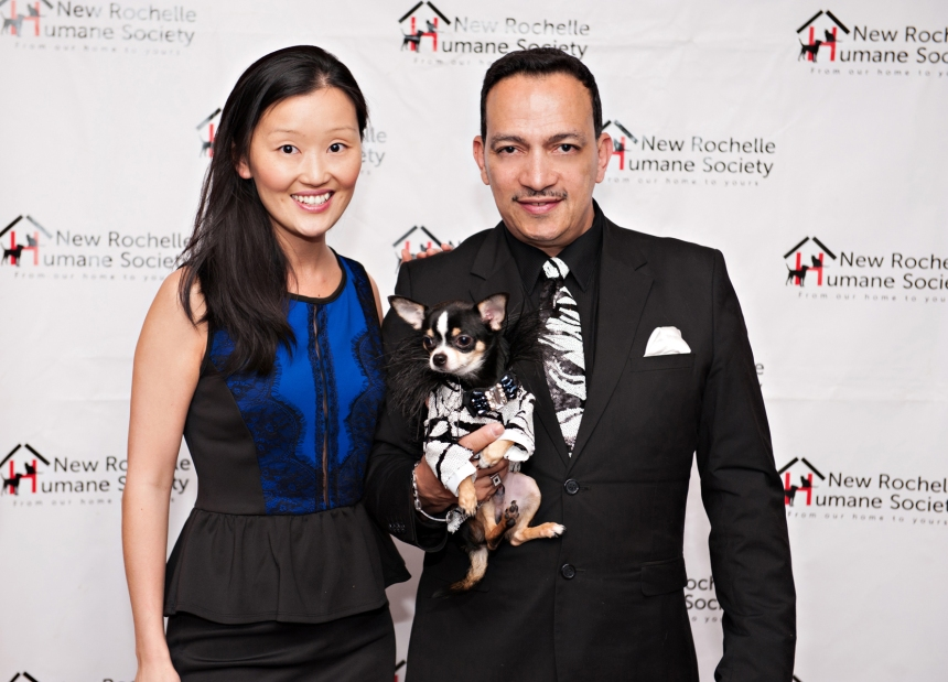 Anthony Rubio with Bogie and Theresa Wong at New Rochelle Humane Society's annual Paws for A Heart Gala