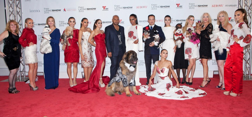 Anthony Rubio with Vengsarkar Budhu and models at Canine Fashion Show at The Museum Of The Moving Image (Photo By Yoni Levy)