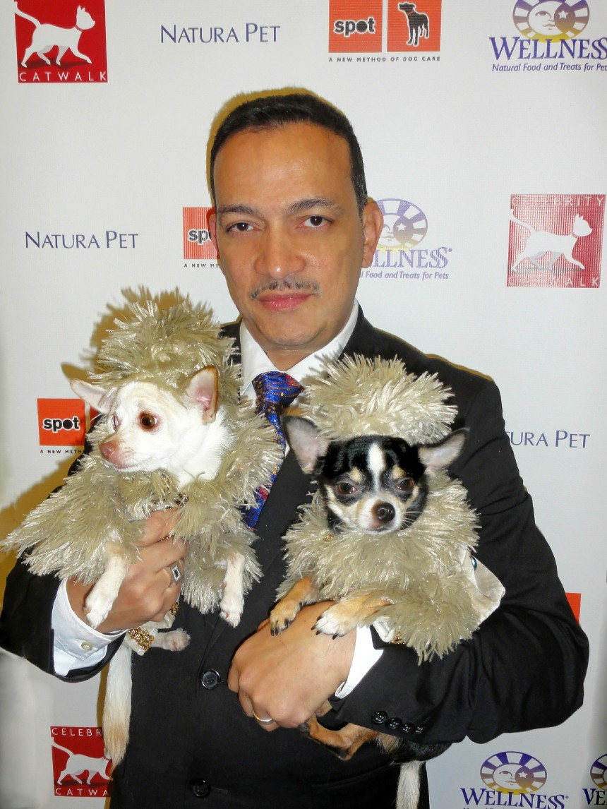 Anthony Rubio with Bogie and Kimba at Celebrity Catwalk's Party