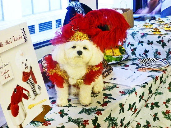Model Bella Mia wearing an Anthony Rubio Design at the 2nd Annual Tinsel & Tails by Celebrity Catwalk