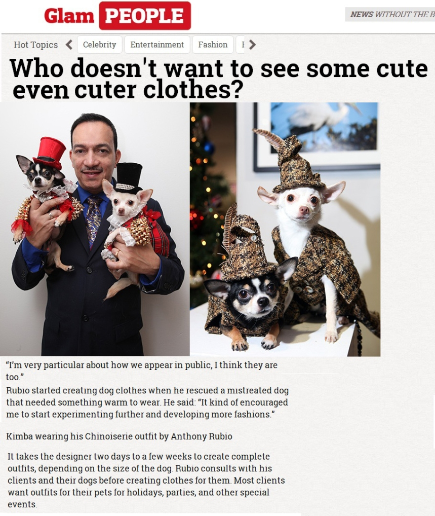 Anthony Rubio Interview on Canine Fashion on Glam People