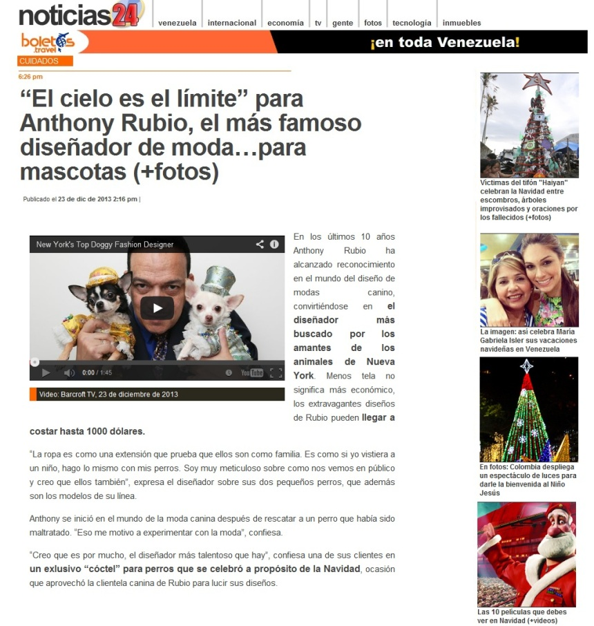 Anthony Rubio's Interview on Noticias24 in Venezuela