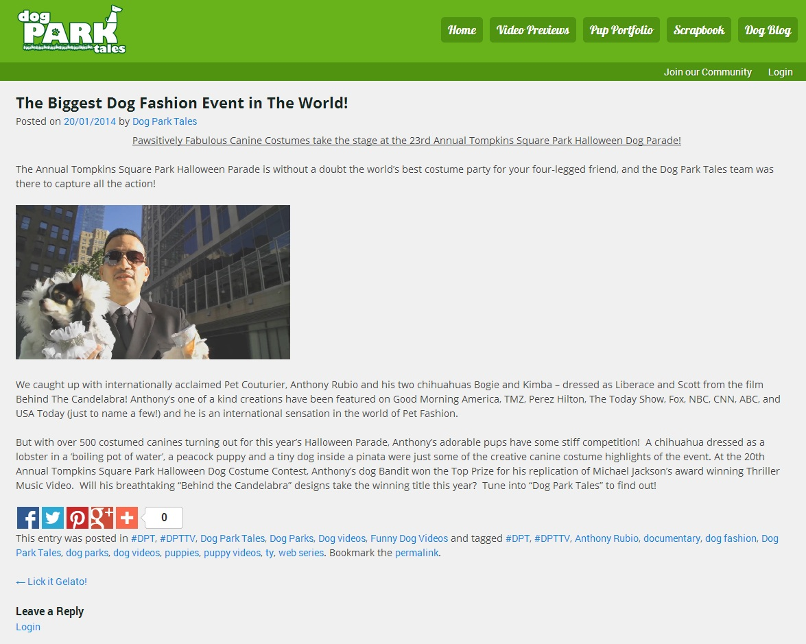 Anthony Rubio featured in Dog Park Tales TV Show