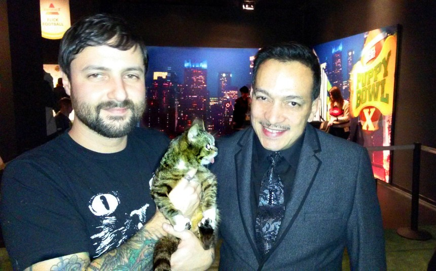 Anthony Rubio with Mike Bridavsky and Lil Bub at Animal Planet's VIP Puppy Bowl Party