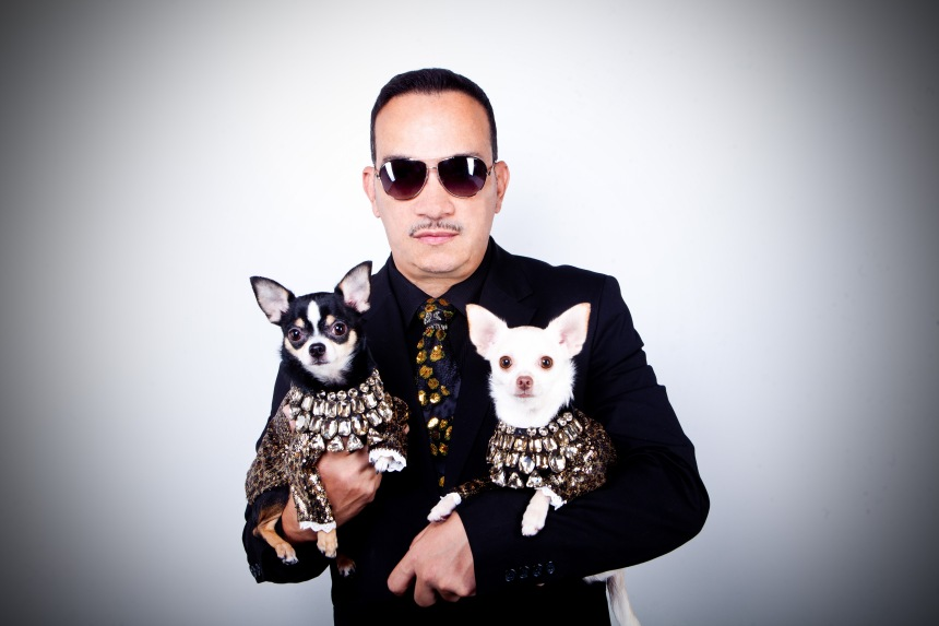 Anthony Rubio with his Chihuahuas Bogie and Kimba