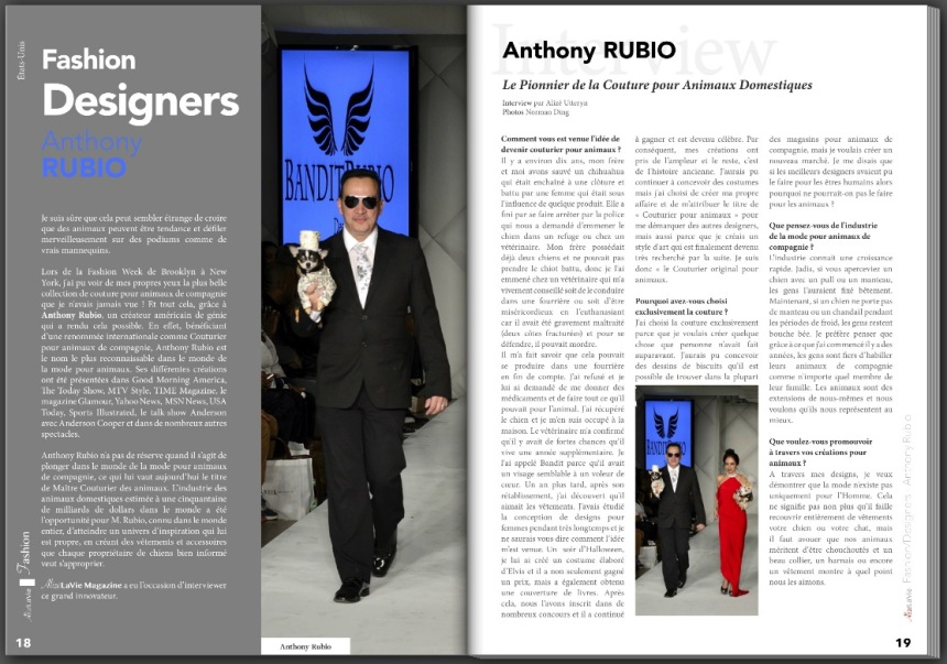 Anthony Rubio Interview in French Magazine Alizé La Vie