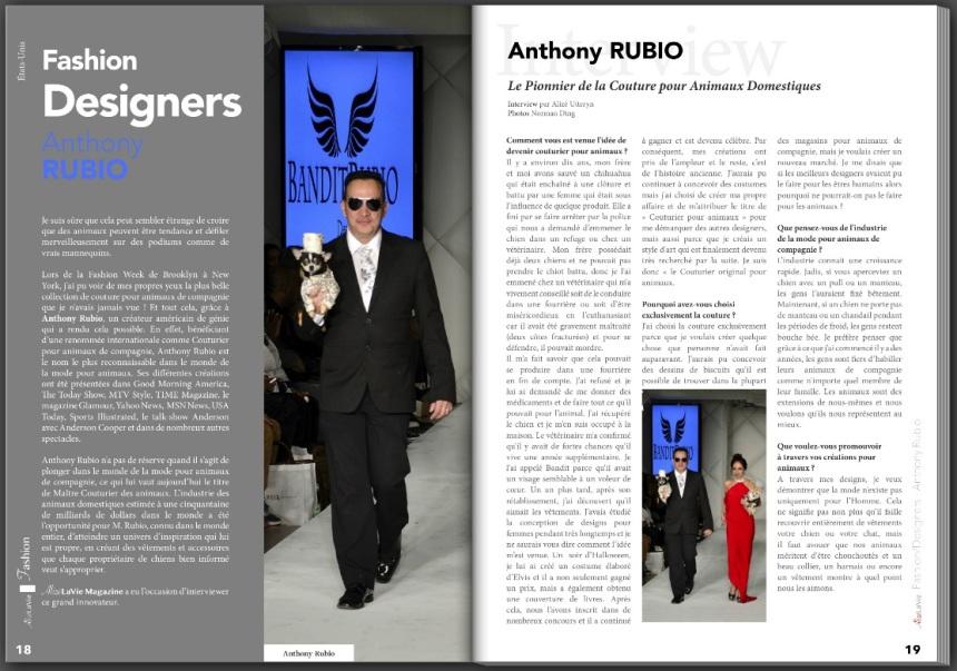Anthony Rubio Interview in French Magazine Alizé La Vie