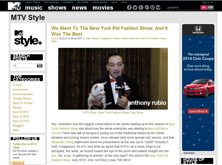 Anthony Rubio was interviewed by MTV Style