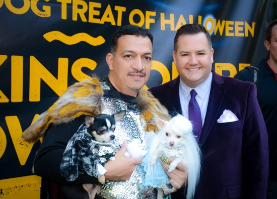 Anthony Rubio & Bogie and Kimba in Games Of Thrones Halloween Dog Costumes with emcee Ross Matthews at Tompkins Square Park Halloween Dog Parade 2014