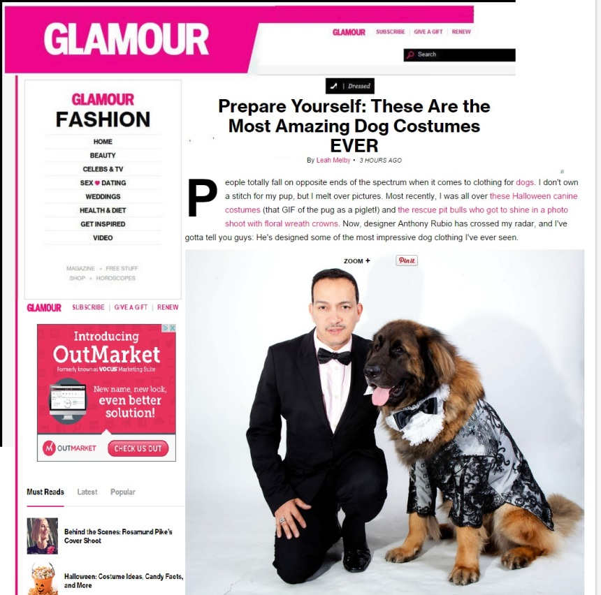 Anthony Rubio featured in Glamour Magazine October, 2014