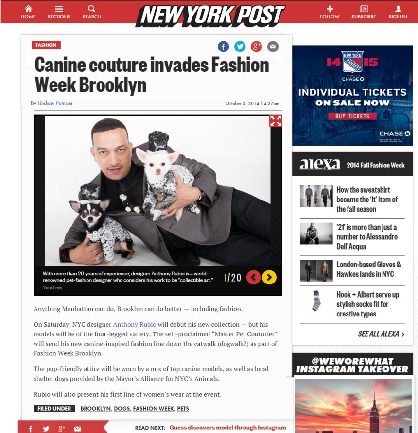 Anthony Rubio featured in the New York Post October 2014