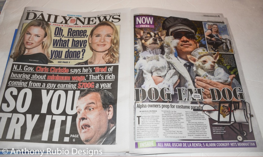 Anthony Rubio featured in the hard copy of New York Daily News on Halloween costumes for dogs