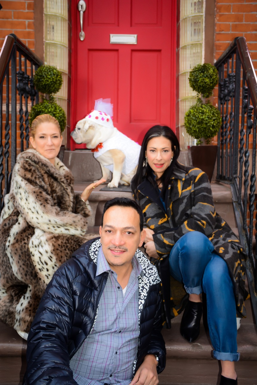 Talk Stoop Host Cat Greenleaf, guest Stacy London, Designer Anthony Rubio with Bulldog Gracie wearing Anthony Rubio Designs on the set of Talk Stoop on NBC