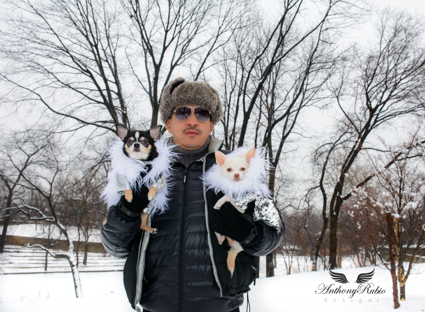 Bogie and Kimba donned their Nordic inspired Faux Fur trimmed coats created by Anthony Rubio Designs