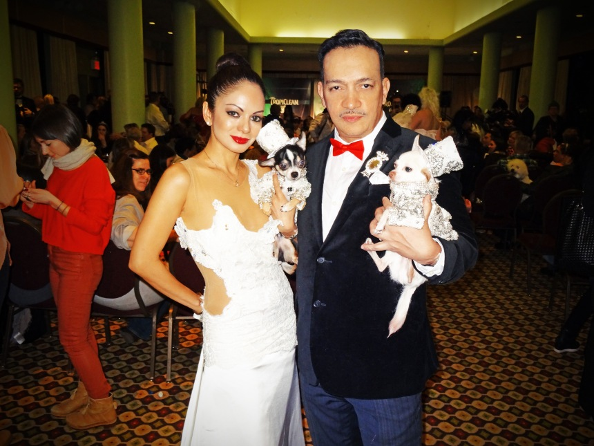 Pet Couturier Anthony Rubio with Chihuahua Kimba and Ivon Reyes with Chihuahua Kimba at The New York Pet Fashion Show