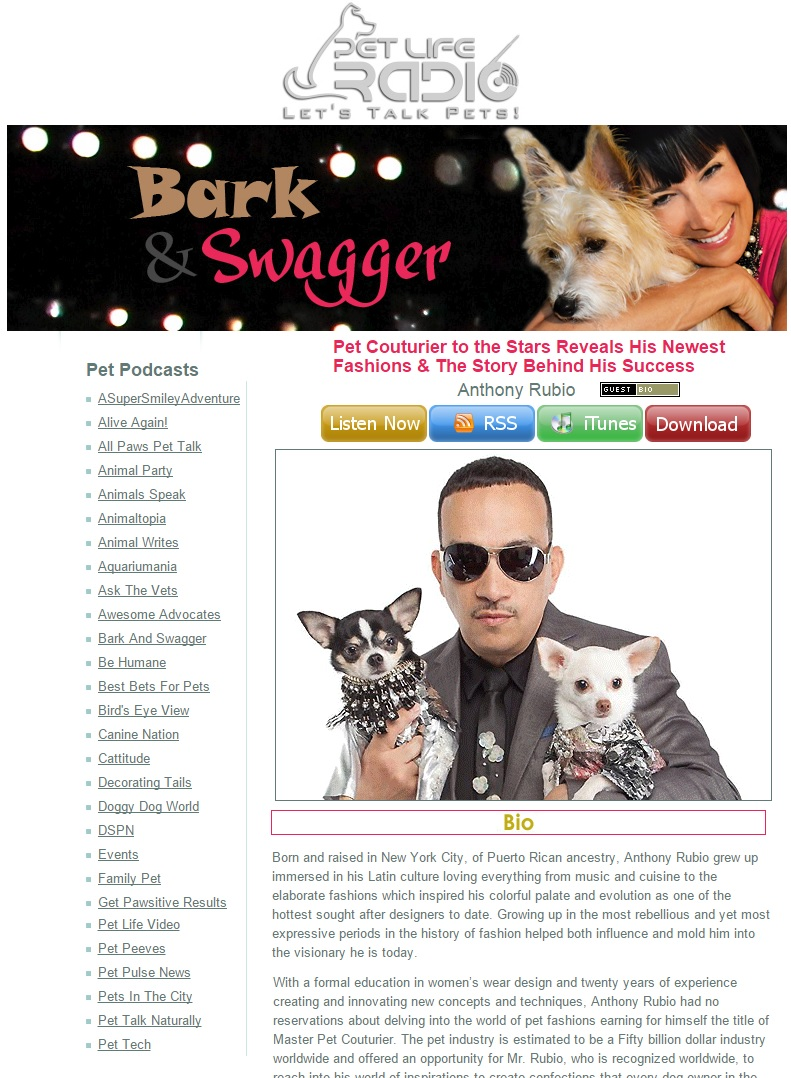 Anthony Rubio's Radio Interview on Bark And Swagger on Pet Life Radio
