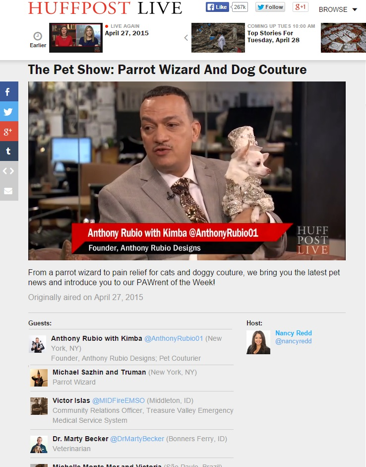 Dog Fashion with Pet Couturier Anthony Rubio on HuffPost Live.