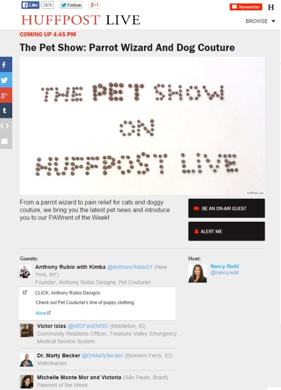 Anthony Rubio  on The Pet Show with host Nancy Redd on Huffington Post Live