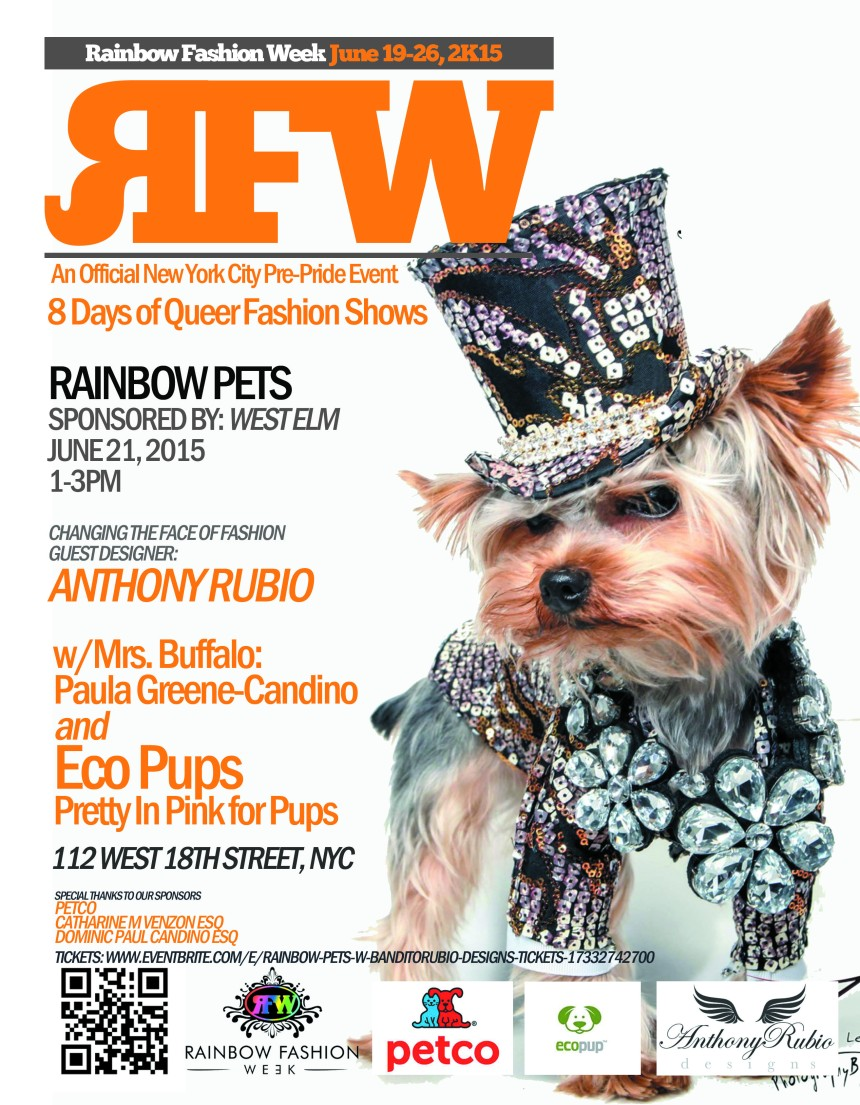 Anthony Rubio Designs' Pet Fashion Show at West Elm on June 21st, 2015
