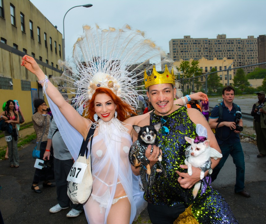Anthony Rubio and Chihuahuas at the 2015 Coney Island Mermaid Parade