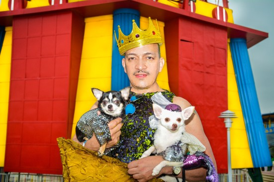 Anthony Rubio with Chihuahuas at the 2015 Coney Island Mermaid Parade