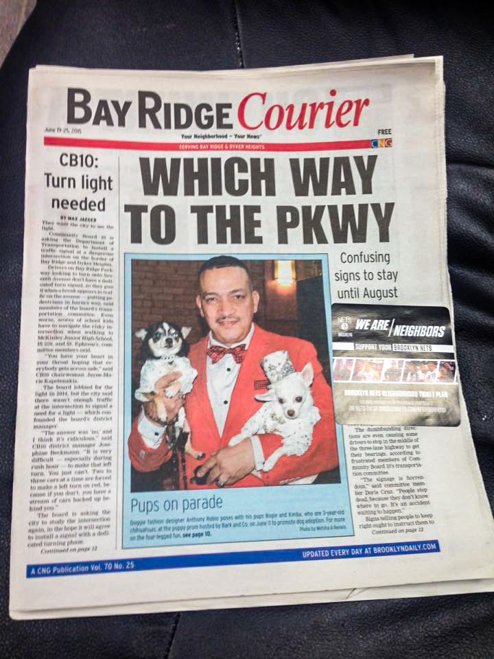 Anthony Rubio on the front page of BrooklynDaily's Bay Ridge Courier. The article is about Bark Post's Puppy Prom.