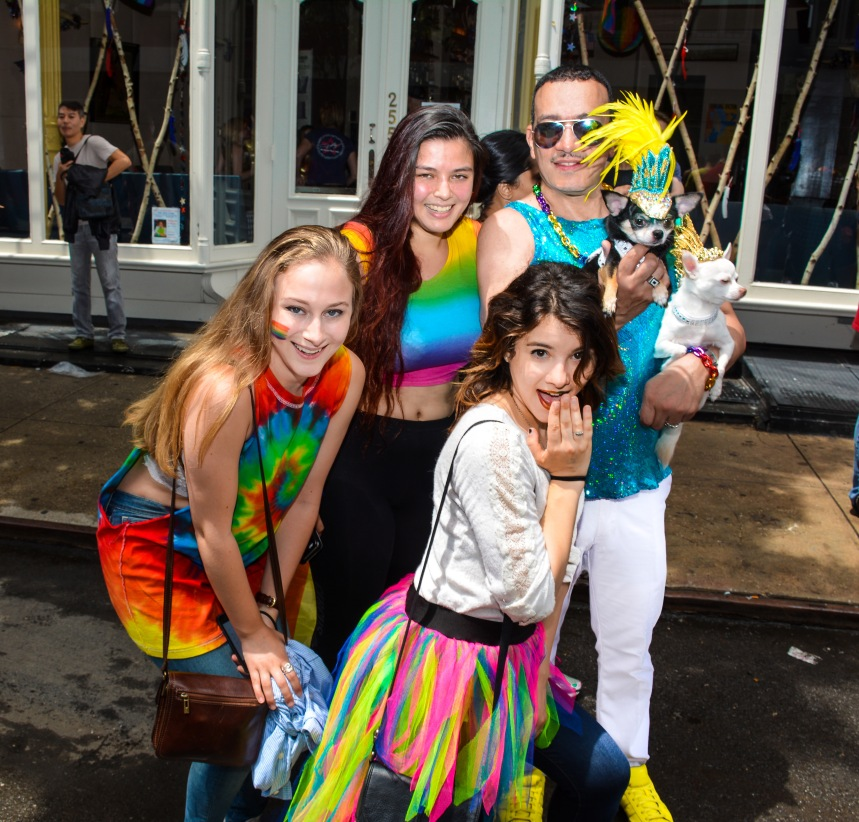 Anthony Rubio with Chihuahuas at the 2015 Pride March in New York City