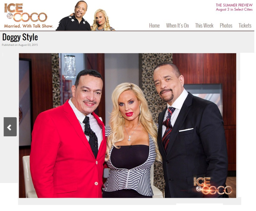 Designer Anthony Rubio with Ice-T and Coco on the set of Ice And Coco talk show on Fox