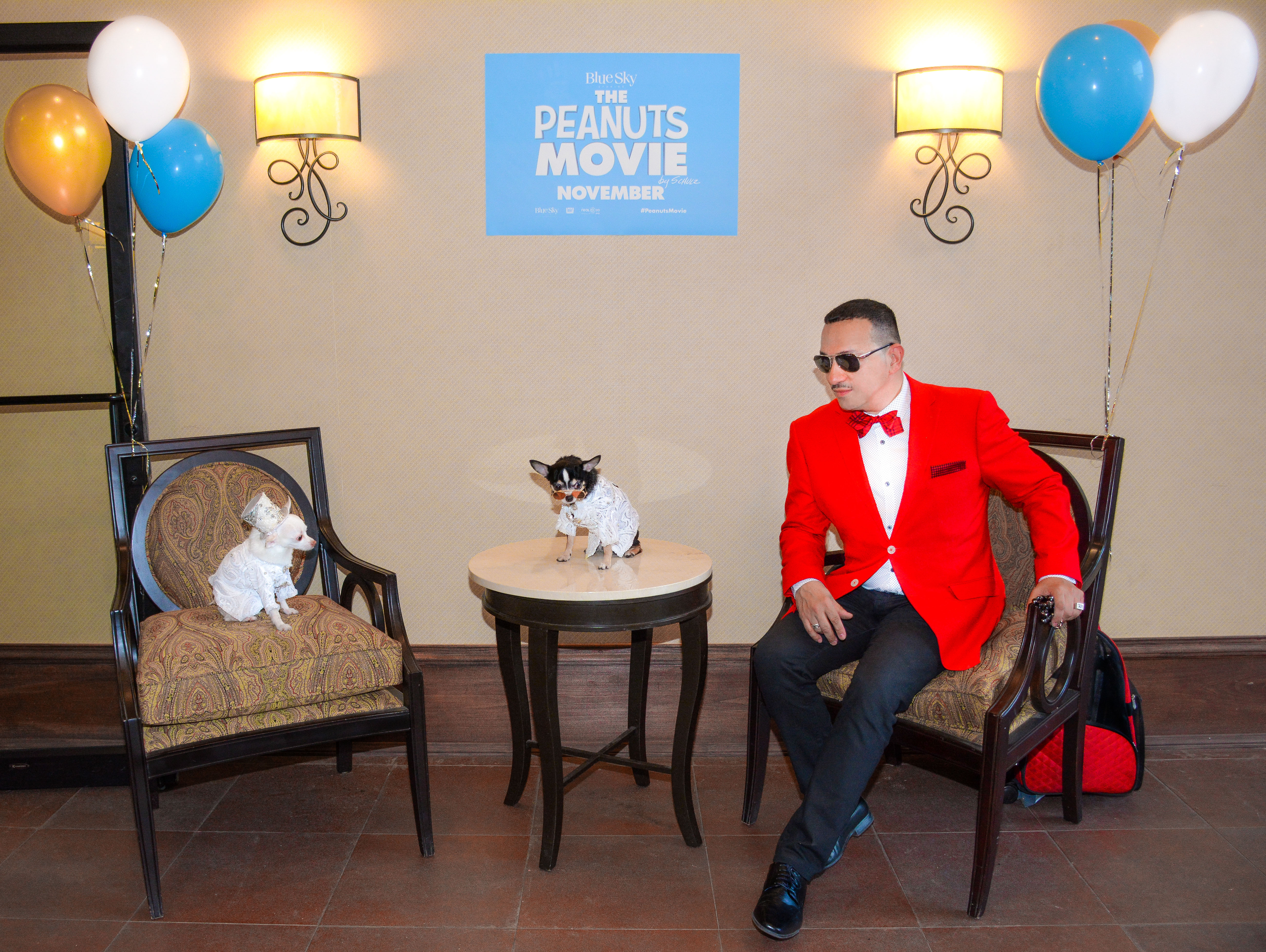 Anthony Rubio with Chihuahua duo Bogie And Kimba attend the Puppy Prom