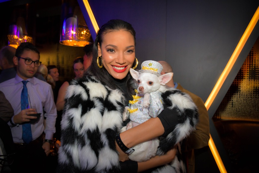 Chihuahua Kimba with Selita Ebanks at the Premiere of Alan Cumming's film W Ultimate Encore at the W Hotel