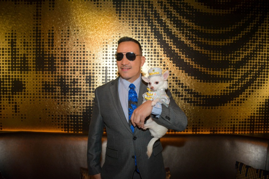 Anthony Rubio with Chihuahua Kimba at the Premiere of Alan Cumming's film W Ultimate Encore at the W Hotel