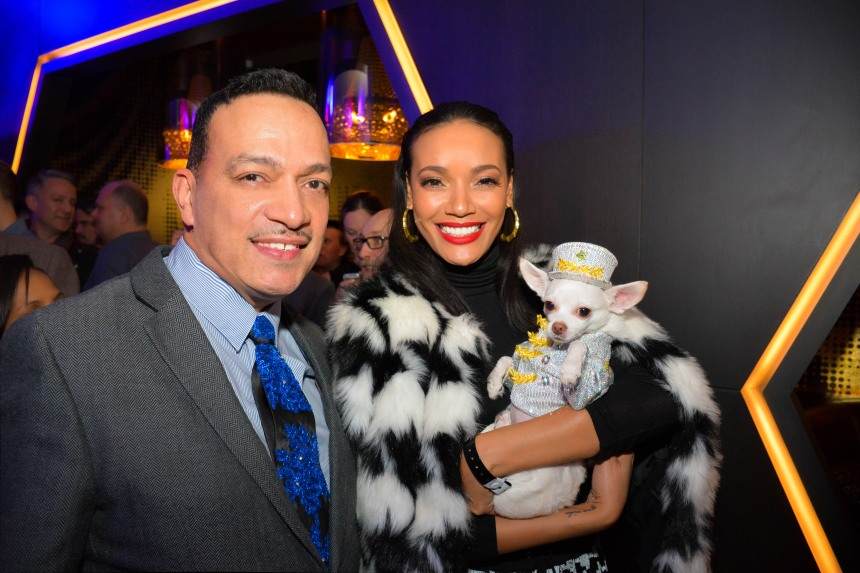 Anthony Rubio and Chihuahua Kimba with Selita Ebanks at the Premiere of Alan Cumming's film W Ultimate Encore at the W Hotel