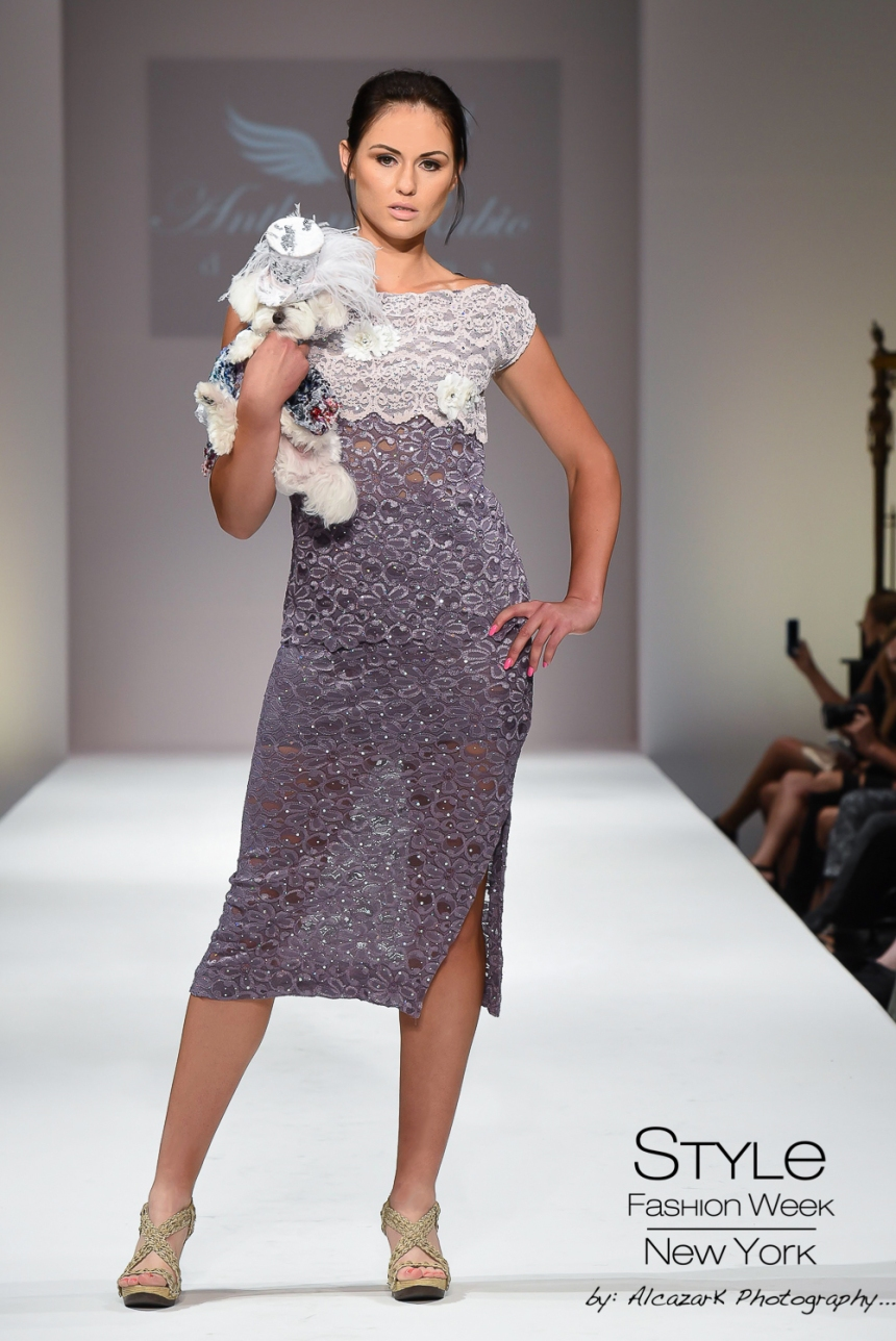 Anthony Rubio Spring/Summer 2016 - New York Fashion Week Model: Khrystyna Pavlyuk Canine Model: Mochi Photo by: Ken Alcazar