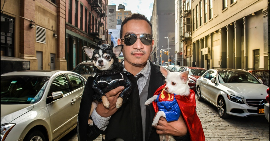 Anthony Rubio's Chihuahuas Bogie And Kimba as Batman vs Superman: Dawn of Justice take on Gotham