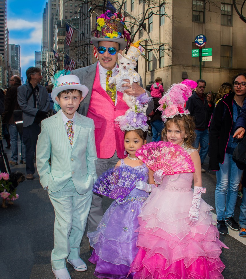 2016 Easter Parade and Bonnet Festival with Anthony Rubio and Chihuahua Bogie and Kimba in New York City