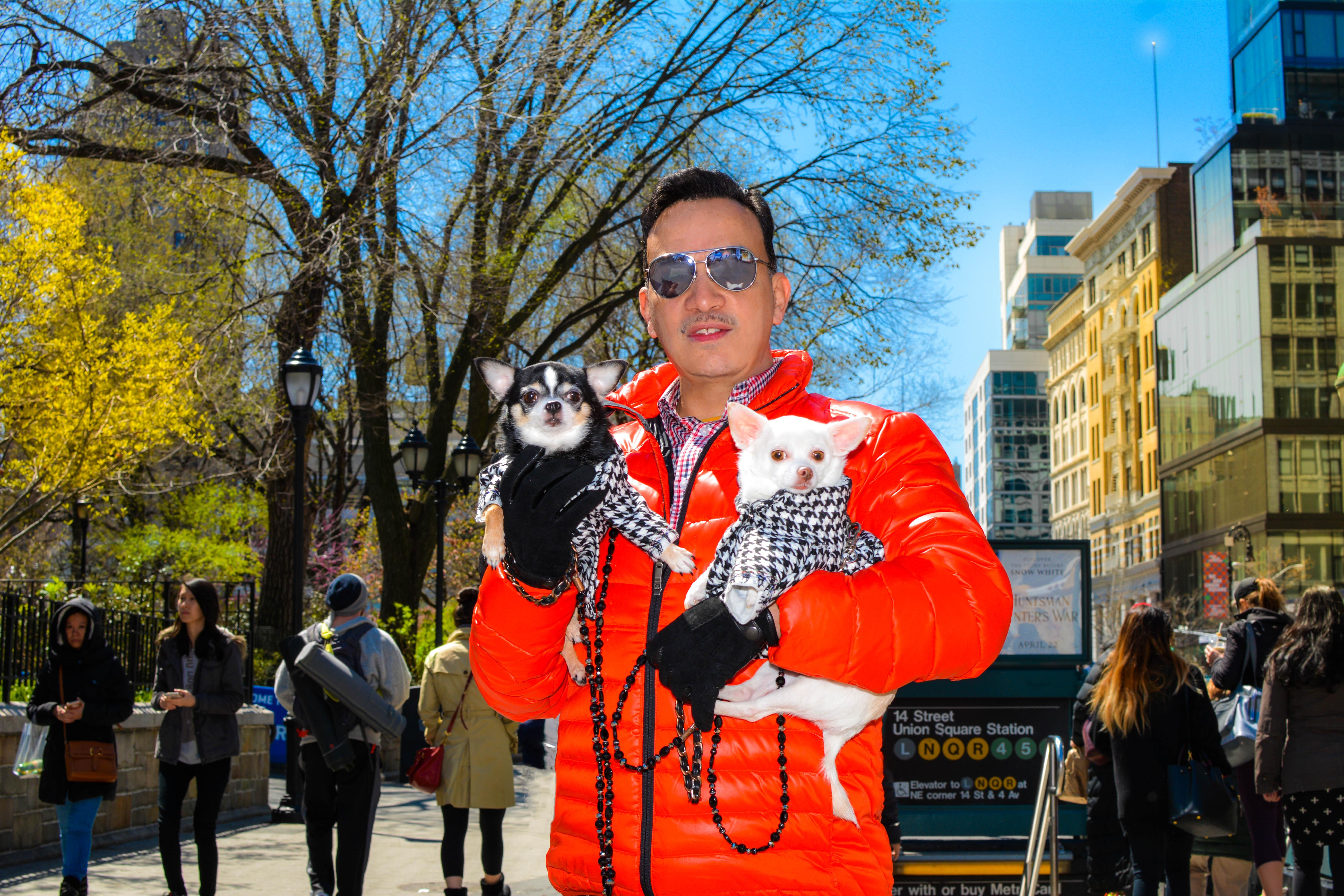 Anthony Rubio with Bogie and Kimba attend Mayor's Alliance for NYC's Animals' annual Adoptapalooza in Union Square Park